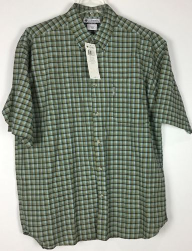 Mens Columbia Shirt XXL Button Front Short Sleeve NWT Plaid Cotton