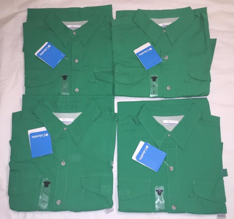 Columbia PFG Bonehead Vented Short Sleeve Shirts Green Sz:L