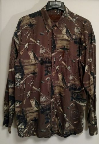 North River Outfitters Mens Shirt Button Up Style Fishing Lures Size XL