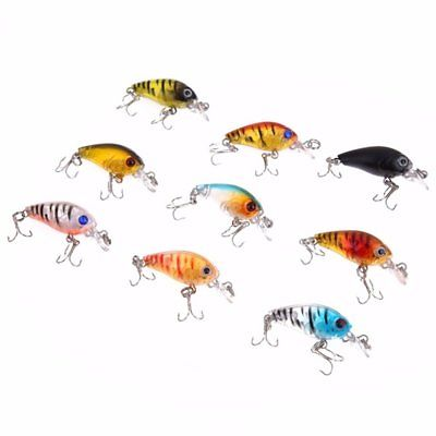 9pcs 45mm 1.2m Depth Fishing Lures 3D Eyes Crankbait Hard Bait Fishing Bream Bas