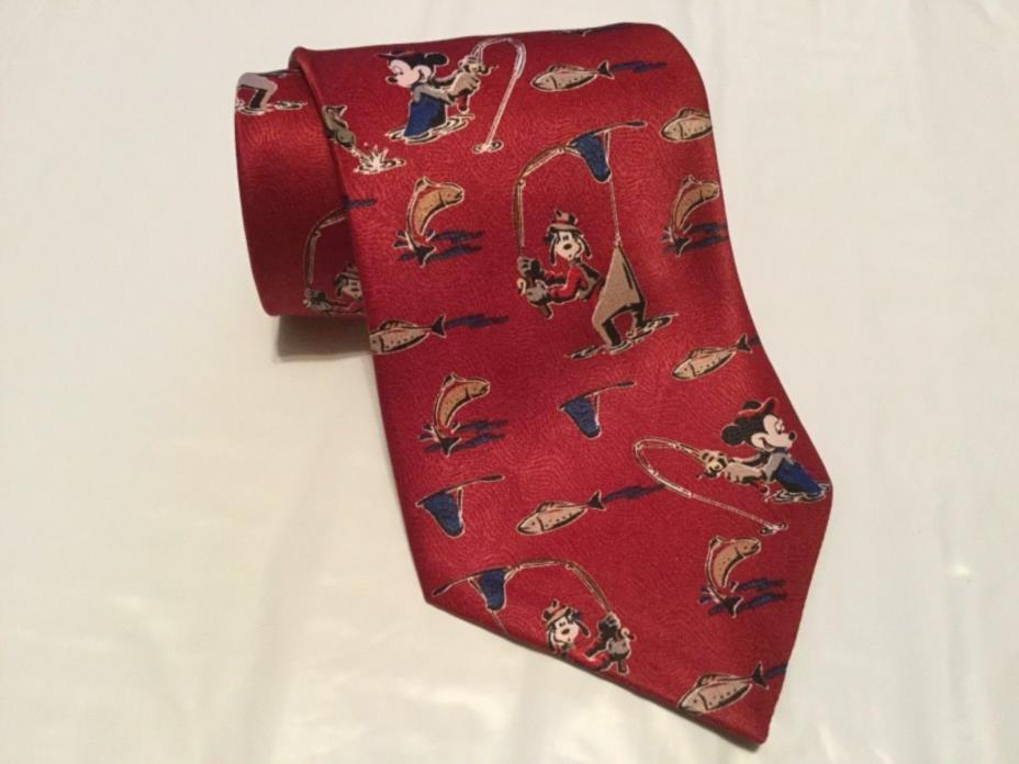 Walt Disney Mickey Unlimited Men's Tie Goofy Mickey Fishing Themed Necktie.