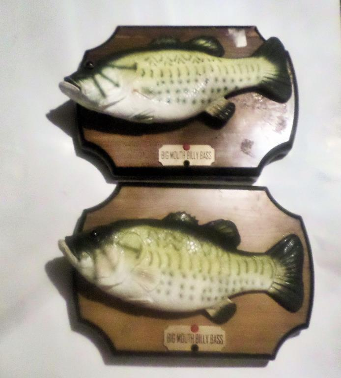 2 Big Mouth Billy Bass Singing fish FOR PARTS ONLY check  video in the listing