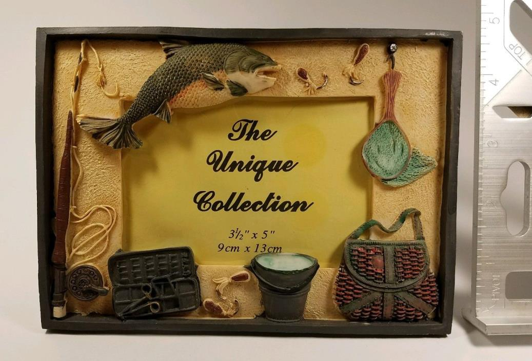 THE UNIQUE COLLECTION Picture Frame Fishing Theme 3-1/2 x 5 Inch Man-Cave!!
