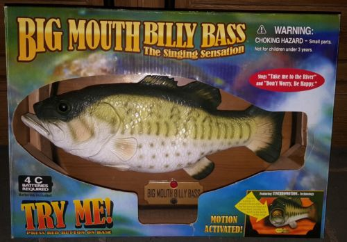 New vtg MOTION ACTIVATED BIG MOUTH BILLY BASS SINGING SENSATION new in box