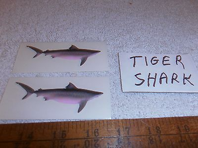TWO TIGER SHARK  OFFSHORE FISH DECALS--6.97--OVER 3.25 INCHES LONG