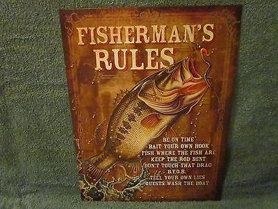 New Fisherman's Rules Fishing Sign Metal Lure Bait Tackle Reel Rod  Hook Boat