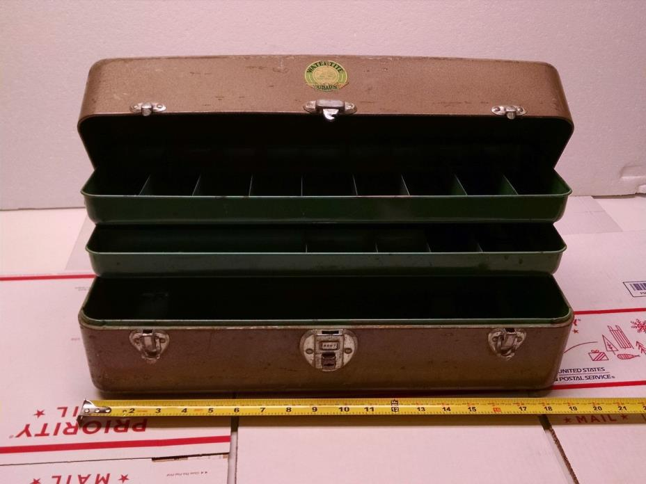 VINTAGE UNION STEEL  CORP. LARGE DOUBLE TRAY TACKLE BOX      NO RUST