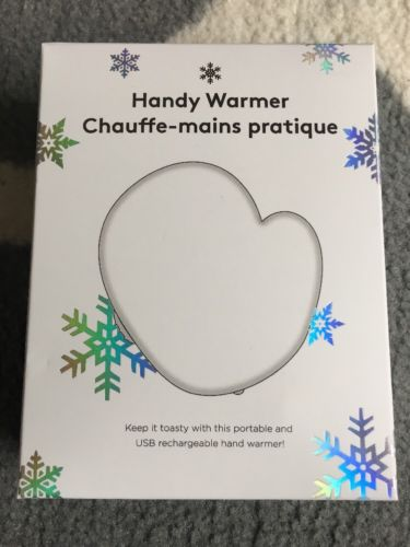 New Rechargeable Portable Hand Warmer with USB Cable White Shaped Like A Glove!