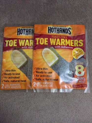 (2 PACKS) HotHands 8 Hour Toe Warmers -2 Per Pack Over 8 Hours Of Warmth