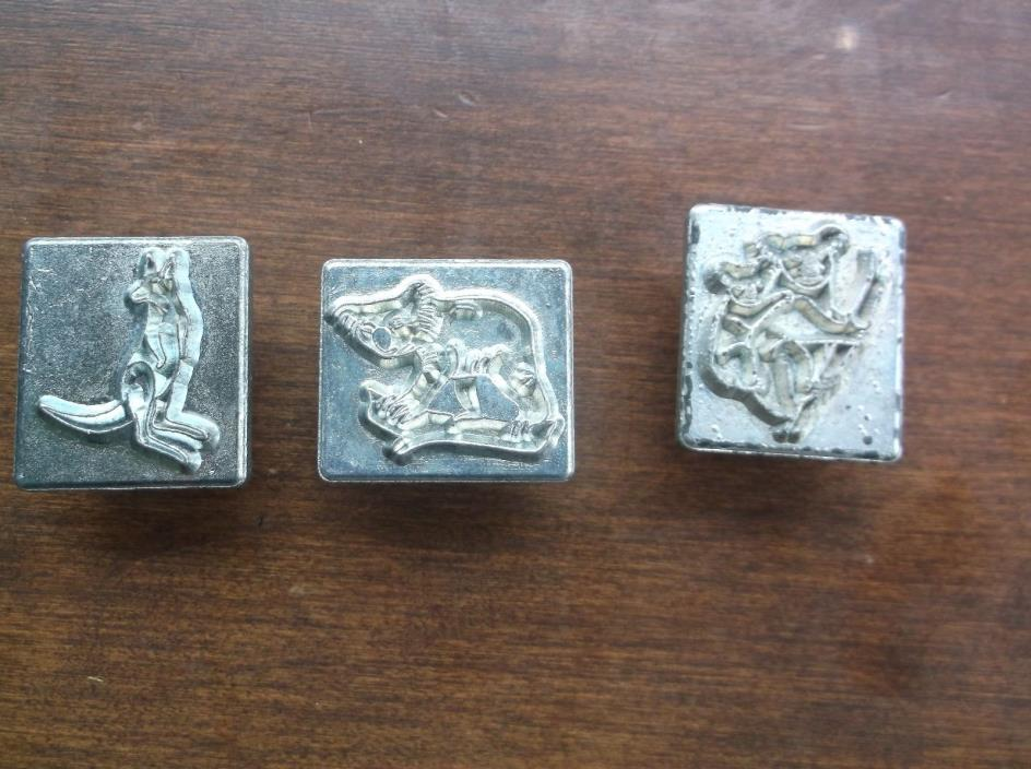 Vintage Craftool Leather Stamp Tool Lot  Kangaroo Koala Bear Bear Baby Australia