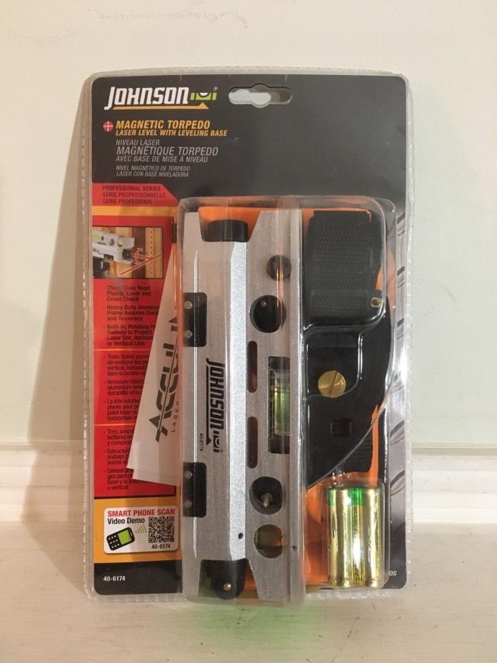 JOHNSON 40-6174 7-3/8-Inch Magnetic Torpedo Laser Level with Leveling Base