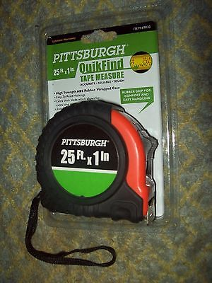 BRAND NEW Pittsburgh QuikFind TAPE MEASURE 25ft x 1 inch. New in package