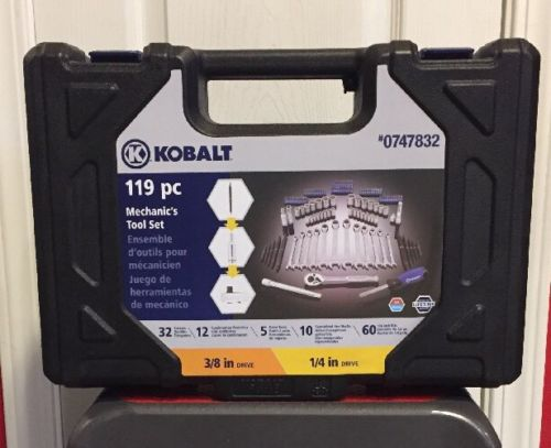KOBALT TOOL SET 119-Piece Mechanic's Tool Set Standard SAE and Metric Hard Case