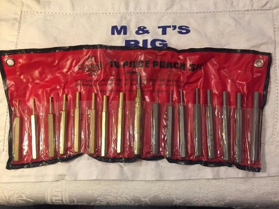 Cummins 18pcs Brass & Steel Punch Set w/ Brass Handle Automatic Punch & Pouch