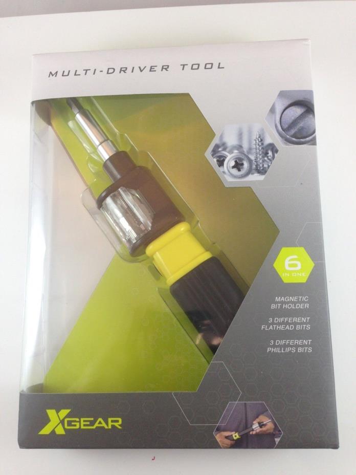 X Gear Multi Driver Tool Screwdriver 6 in One New In Box Screwdriver Bit Kit