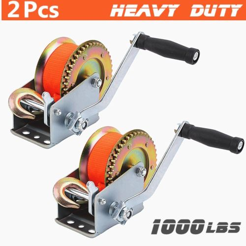 2X Nylon Strap 1000lb Hand Winch Hand Crank Heavy Duty Winch ATV Trailer Boat MY