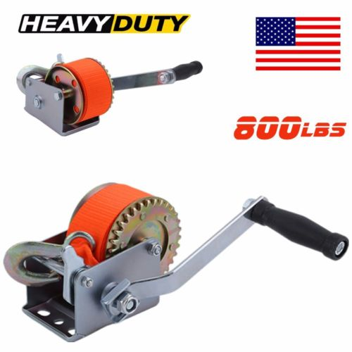 New Nylon Strap Hand Winch Hand Crank 800lb Heavy Duty Winch ATV Trailer Boat MS