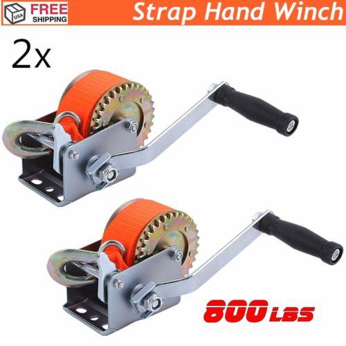 2x Heavy Duty 800lbs Hand Winch Hand Crank Strap Gear Winch ATV Boat Trailer MY