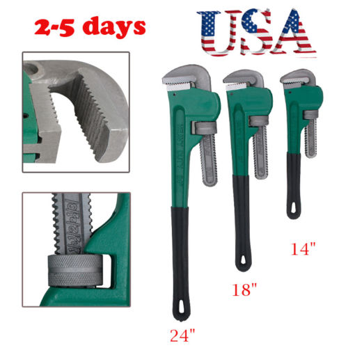 3pcs Heavy Duty Grip Pipe Wrench Set Aluminum Plumbing Adjustable 14