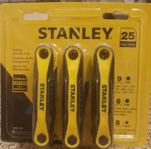 NEW! Stanley Folding Hex Key Sets 25 Total Keys - 9 SAE, 8 MM, 8 Torx STHT71759