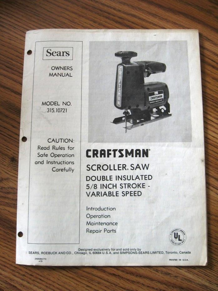 SEARS Mod.No.315.10721 SCROLLER SAW 5/8