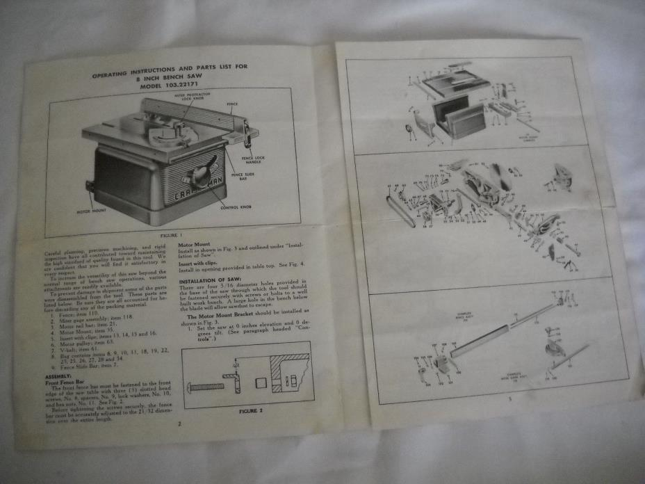 Craftsman 103.22171  8 inch Bench Saw Instructions, Original Instructions!!