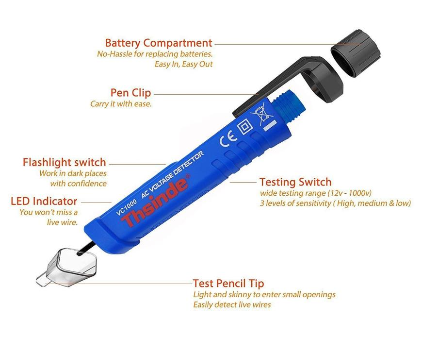 Inductive voltage tester pen, Thsinde Non Contact mini wireless dual range elect