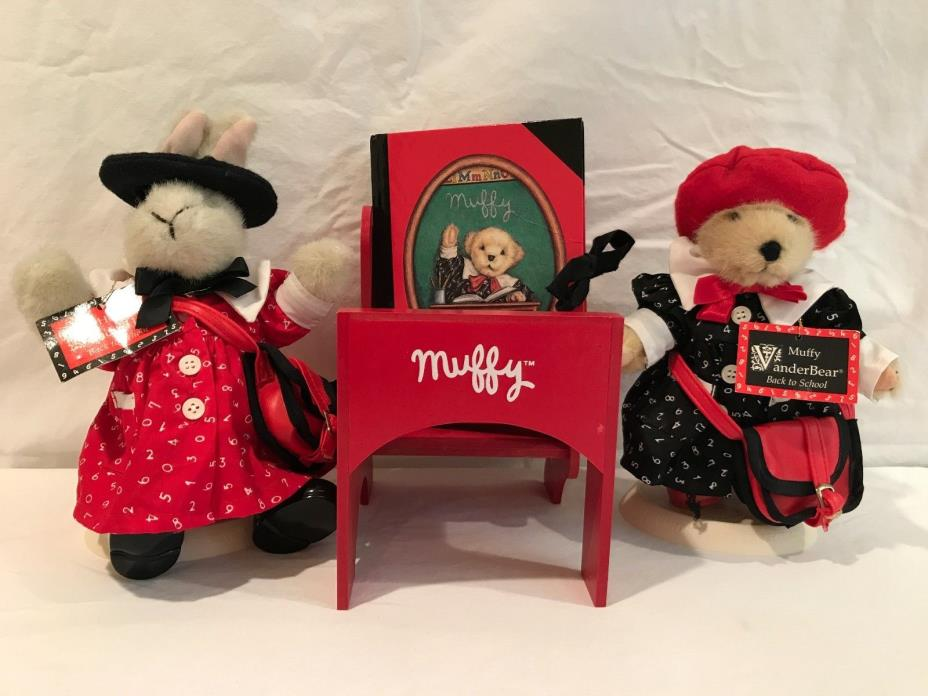 Muffy Vanderbear and Hoppy Vanderhare  Back to School with Desk and Journal