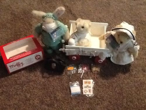 RETIRED MUFFY BEAR NURSE, HOPPY DR, LULU PATIENT AMBULANCE CART BAG POPS MERCY