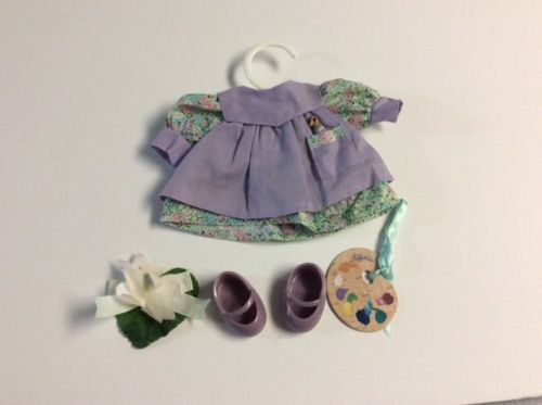 Muffy Vanderbear Artist Outfit Gibearny Purple Smock - Paint Palette - Shoes