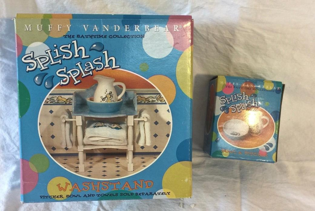 Muffy Vanderbear Splish Splash Washstand with  Pitcher and Bowl & Towels  JB0497