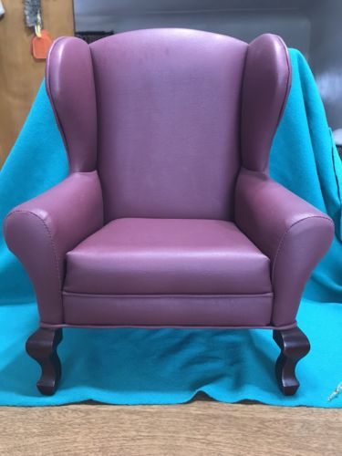VINTAGE DOLL OR BEAR HIGH BACK ARM CHAIR UPHOLSTERED