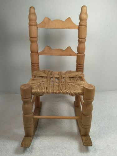 Handcrafted Doll House Wooden Rocking Chair