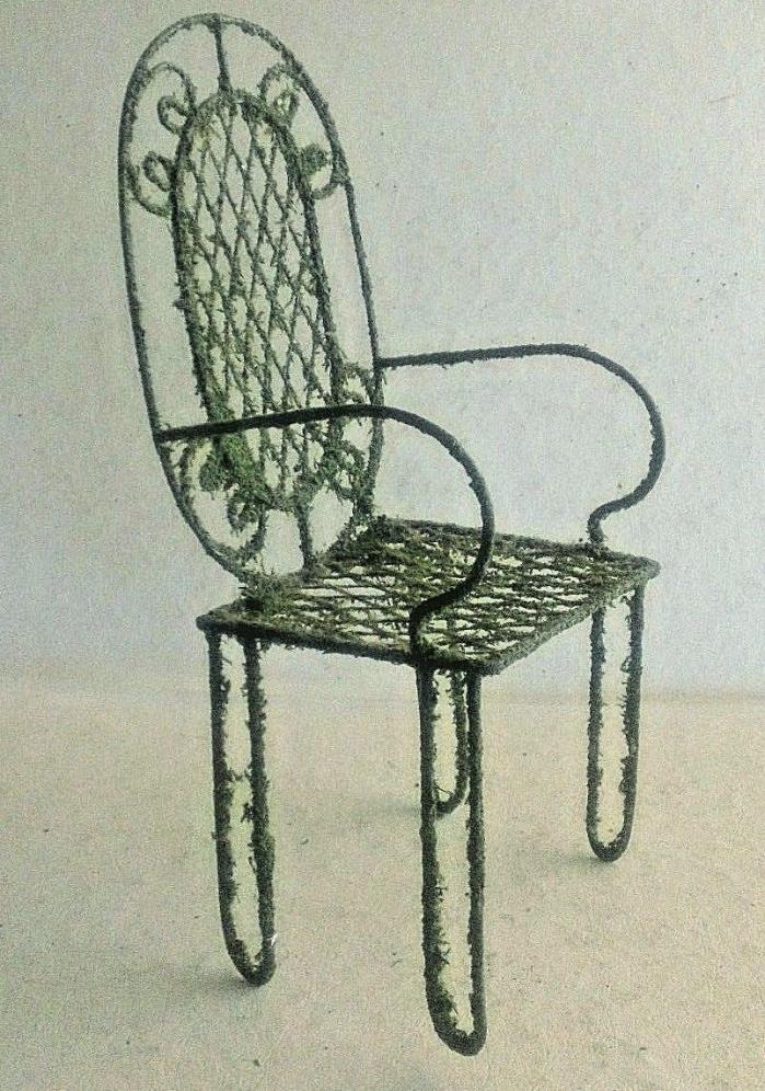 "11 ½"" Metal Doll Chair, Scroll and Lattice Design with Green Flocked Surface"