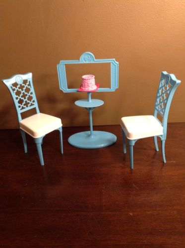 Blue and White Barbie size chairs and cake