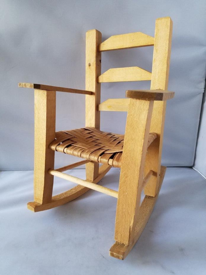 Wooden Doll Rocking Chair Handmade Wicker Wood Seat For Dolls Toys 8