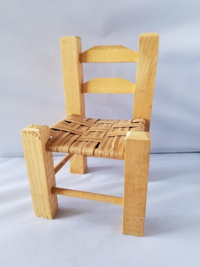 Wooden Doll Chair Small Size Handmade Wicker Wood Seat Toy Furniture 5