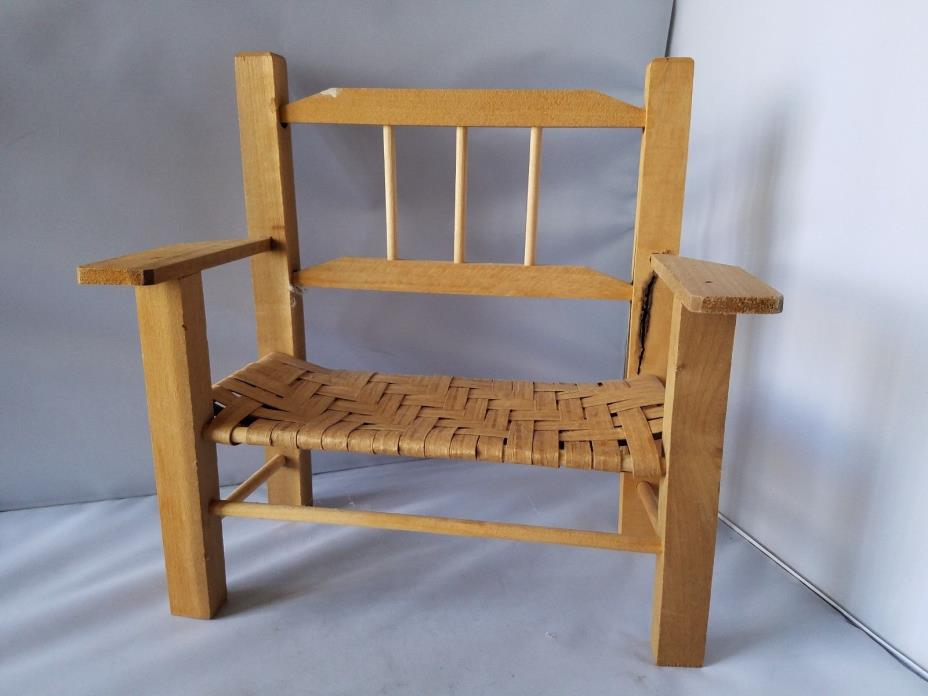 Wooden Doll Chair Bench Wicker Wood Seat Toy Dolls Stuffed Animal 11.5