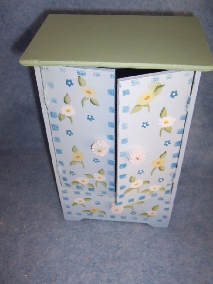 "Painted Wooden Closet- Armoire for dolls - 10"" Daisy"