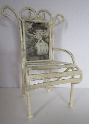 Shabby Finish Metal Chair With Antique Picture Framed Back
