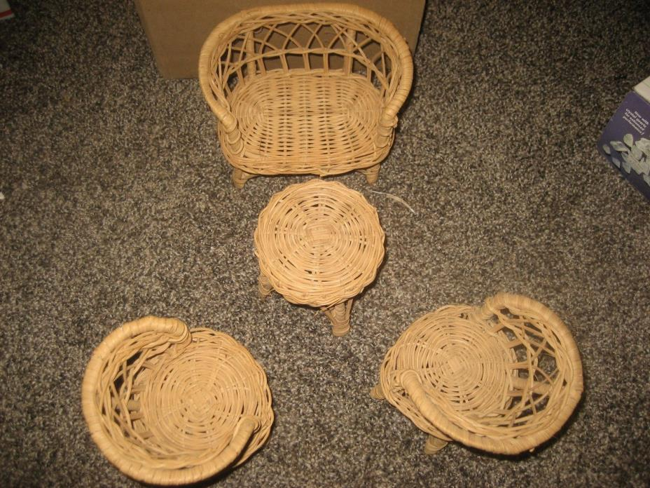 WICKER DOLL FURNITURE 4 PIECES