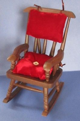 Vintage Wooden Rocking Chair/Commode With Silk Velvet Cushions