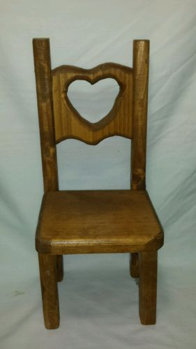 Wooden Doll Chair High Back Heart Cut Out Natural Wood 13