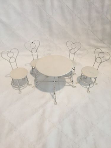Vintage Wire Ice Cream Parlor Dollhouse Furniture Table Chairs