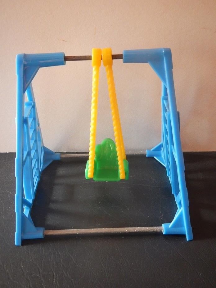 Doll house outdoor swing; metal & plastic; 3.75