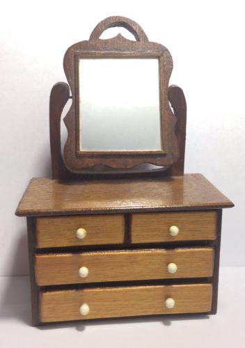 Vintage Wooden Dollhouse Furniture Swivel Mirror 4 Drawer Vanity Dresser