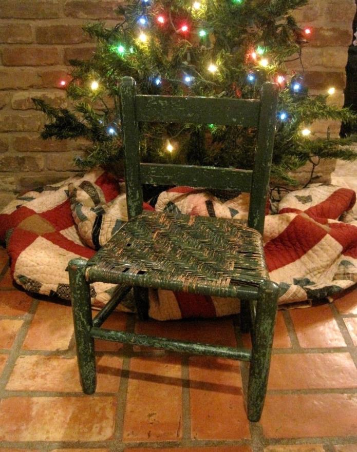 Antique/Vintage Doll Chair, Original Green Paint, Cane Seat, 20