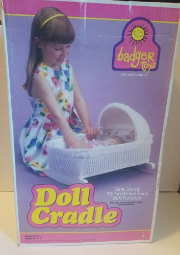 RARE SEALED VINTAGE BADGER BASKETS BABY DOLL TOY BASSINET CRADLE NEW