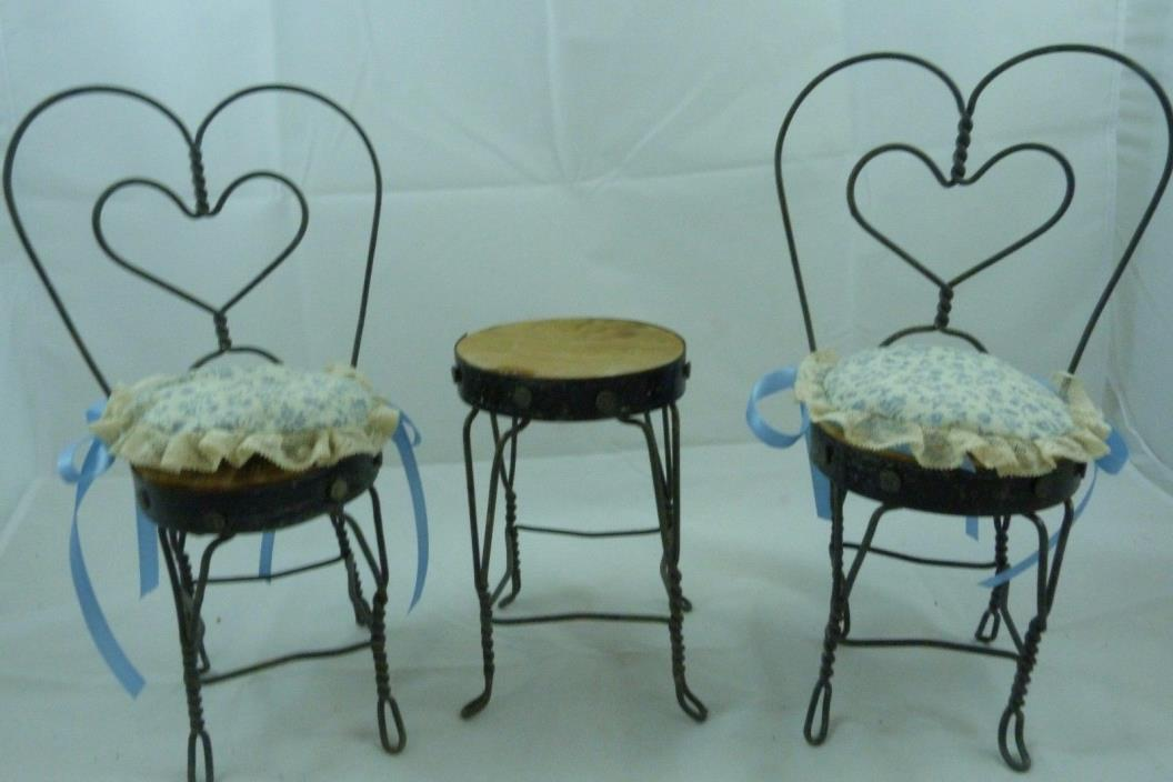 Vintage Wood Wrought Iron Ice Cream Parlor Table Chairs Doll Size Toy Display