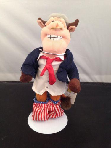 Infamous Meanies USA Bull President Bill Clinton Beanbag Toy Plush Gag Doll